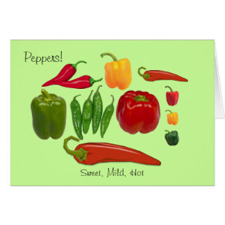Colorful Group of Sweet Mild and Hot Peppers Note Card