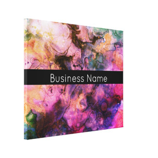 Colorful, Grunge Abstract Paint with Business Name Canvas Print