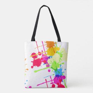 Colorful Grunge Paint Splatter Tote Bag