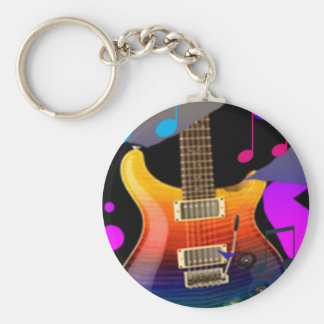 Colorful Guitar - Rock On! Basic Round Button Key Ring