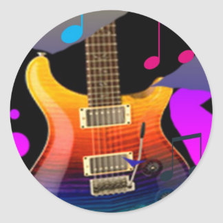 Colorful Guitar - Rock On! Round Sticker