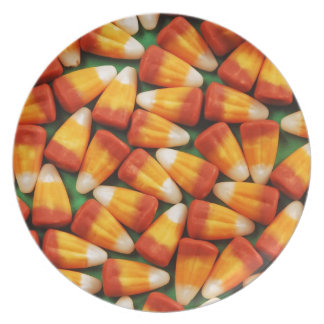 Colorful halloween candy corn print dinner plates