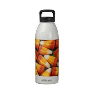 Colorful halloween candy corn print reusable water bottles