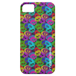 colorful halloween funny skulls with name iPhone 5 cover