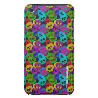 colorful halloween funny skulls with name iPod touch Case-Mate case