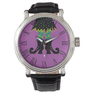 Colorful Halloween Funny Witch Feet Wrist Watch