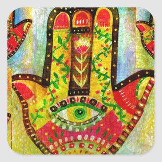 Colorful Hamsa Hand Art Square Sticker