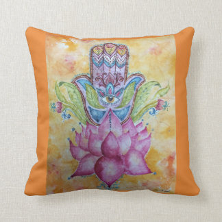 Colorful Hamsa Watercolor Throw Pillow