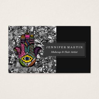 Colorful Hand Drawn Hamsa Hand an Floral Drawings Business Card