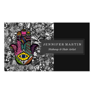 Colorful Hand Drawn Hamsa Hand an Floral Drawings Pack Of Standard Business Cards
