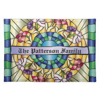 Colorful Hand-Drawn Jewel Stained Glass Flowers Place Mat