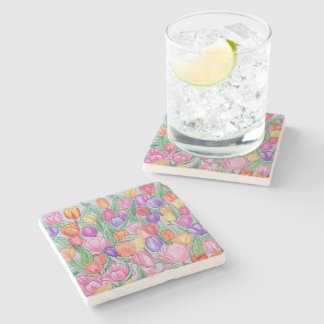 Colorful Hand Drawn Tulips Marble Coaster Stone Coaster