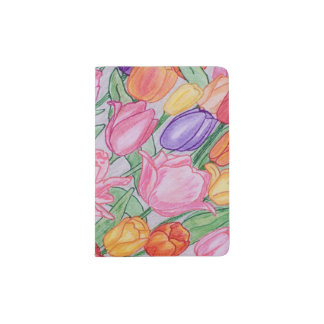 Colorful Hand Drawn Tulips Passport Holder