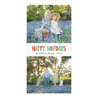 Colorful Hand Lettered Happy Holiday Two Photo Photo Cards