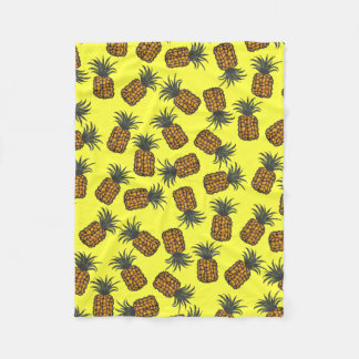 colorful hand painted tropical pineapple pattern fleece blanket