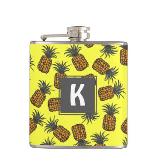 colorful hand painted tropical pineapple pattern hip flask