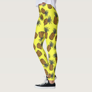 colorful hand painted tropical pineapple pattern leggings