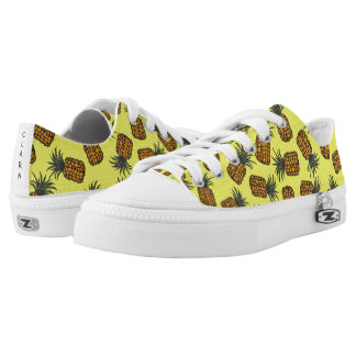 colorful hand painted tropical pineapple pattern low tops