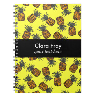 colorful hand painted tropical pineapple pattern notebook