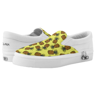 colorful hand painted tropical pineapple pattern slip on shoes