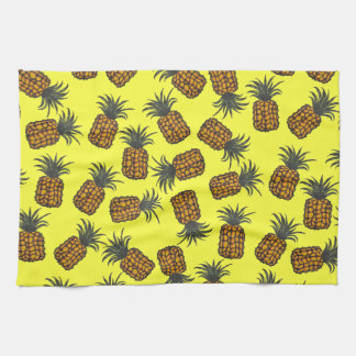 colorful hand painted tropical pineapple pattern tea towel