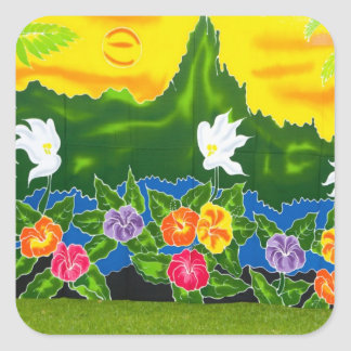 Colorful hand painted wraps.  Moorea, French Square Sticker