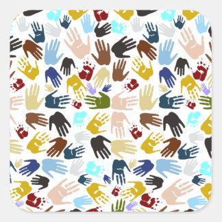 Colorful Handprints Square Sticker