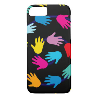 Colorful Hands on Black Background Patterned iPhone 8/7 Case