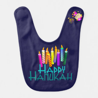 Colorful Hanukah Candles Baby Baby Bibs