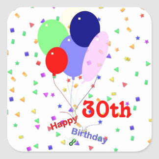 Colorful Happy 30th Birthday Balloons Square Sticker