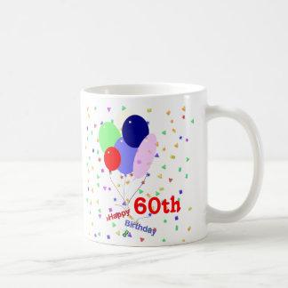 Colorful Happy 60th Birthday Balloons Basic White Mug