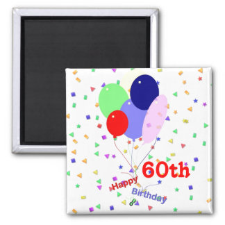 Colorful Happy 60th Birthday Balloons Square Magnet