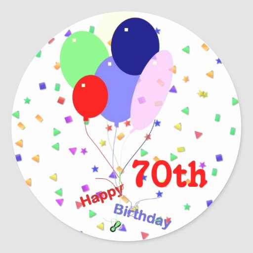 Colorful Happy 70th Birthday Balloons Round Sticker