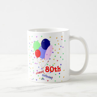 Colorful Happy 80th Birthday Balloons Classic White Coffee Mug
