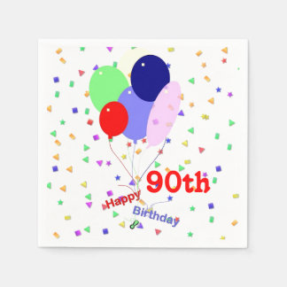Colorful Happy 90th Birthday Balloons Disposable Napkin
