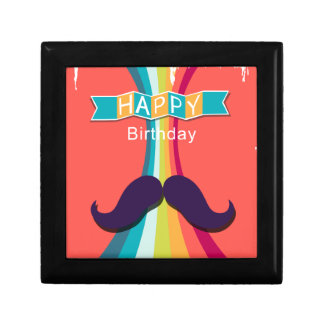 Colorful Happy Birthday and Mustache Small Square Gift Box