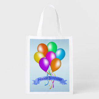 Colorful Happy Birthday Balloons Banner Party Reusable Grocery Bag