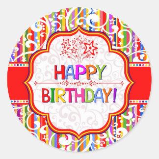 Colorful Happy Birthday Classic Round Sticker