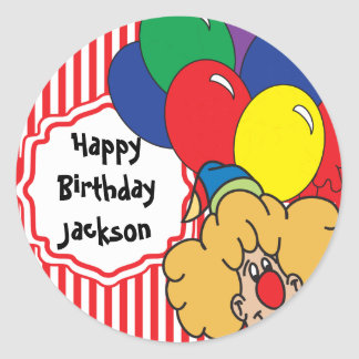 Colorful Happy Birthday Clown Round Sticker
