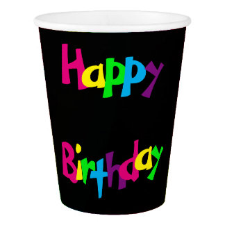 Colorful Happy Birthday Paper Cup