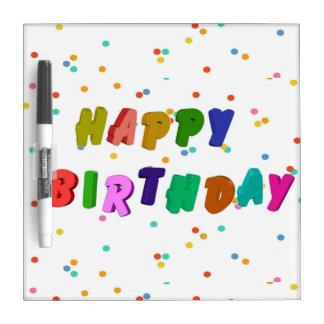 Colorful Happy Birthday Party Dry Erase Board