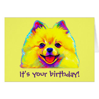 Colorful Happy Birthday Pomeranian Card