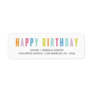 Colorful Happy Birthday Return Address Label