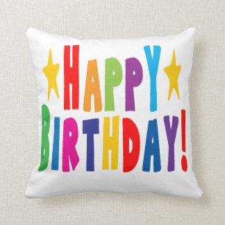 Colorful Happy Birthday Text Cushion