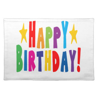 Colorful Happy Birthday Text Placemat