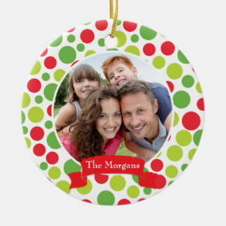 Colorful Happy Christmas Dots Holiday 2-Photo Christmas Ornament