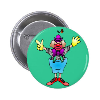 Colorful Happy Clown Pinback Buttons