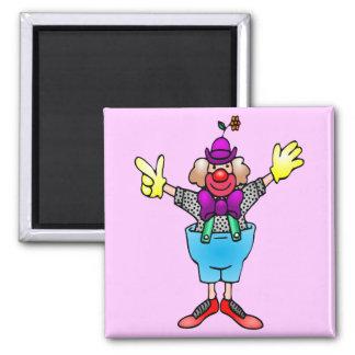 Colorful Happy Clown Square Magnet