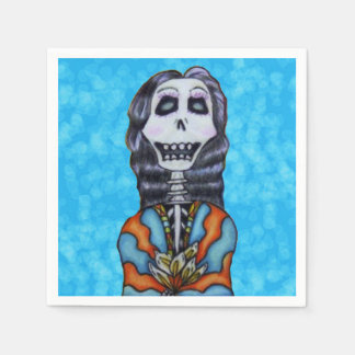 Colorful Happy Day of the Dead Skeleton Paper Napkins