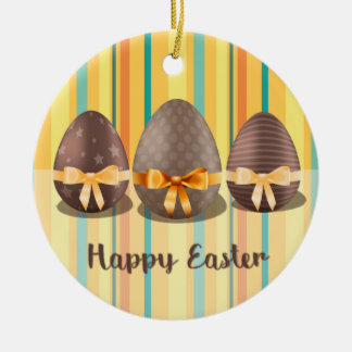 Colorful Happy Easter, Choco Easter Eggs Round Ceramic Decoration